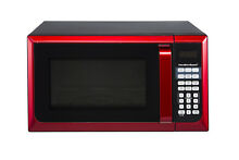 Red Hamilton Beach Microwave Oven  Stainless Steel Small Space Dorm Countertop