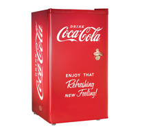 Classic Vintage Compact Coca Cola Stainless Steel Mini Fridge with Freezer
