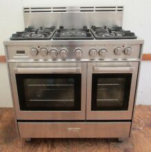 VERONA CLASSIC SS GAS ELECTRIC COMMERCIAL 36  DUAL FUEL DOUBLE OVEN RANGE STOVE