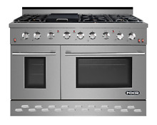 NXR SC 48 inch Gas Range 6 German Burner Cooker Oven Cooktop in Stainless Steel