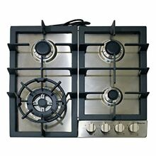 Magic Chef Built MCSCTG24S 24 quot  Gas Cooktop with 4 Burners  Stainless Steel