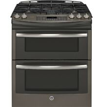 GE Profile Series PGS950EEFES 6 8CF 30  Double Oven Gas Range Stainless SLATE