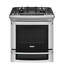 Electrolux Stainless Steel 30  Dual Fuel Slide in Range Gas Top   Electric Oven