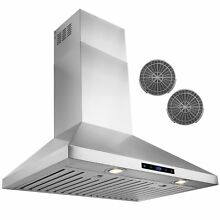 30  Stainless Steel Wall Mount Range Hood Touch Control Ductless Vented Y RH0228
