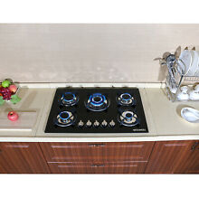 Black Stove WindMax 30  Tempered Glass Built in 5 Burner Gas Hob CookTops Cooker