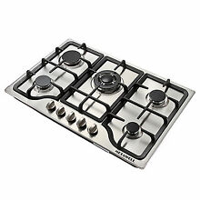 30inch Stainless Steel 5 Burners Built in Stove Cooktop Natural Gas Hob