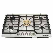 US 30 Stainless Steel 5 Burner Gas Cooktop NG  LPG Conversion for Cook Top Stove