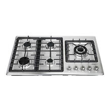 Stainless Steel 34 inch Gas Cooktop 5 Burner   NG LPG Conversion Cook Top Stove