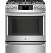 GE Cafe Series C2S986SELSS 30  Slide In Dual Fuel Gas Range w Warming Drawer