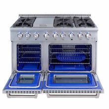 48  Thor Gas Range HRG4808U Stainless Steel Grill Griddle 6 Burner Double Oven