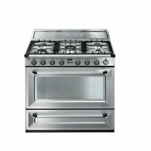 SMEG 36  TRADITIONAL DUAL FUEL STAINLESS RANGE 5 SEALED BURNERS CONVECTION OVEN