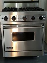 Viking 30  natural gas range with matching hood fan light