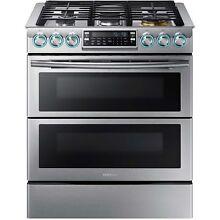 Samsung Stainless Steel 30  Gas Slide In Range Flex Duo Dual Door NX58K9850SS