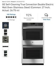 GE JK5500SFSS Stainless Steel 27   Built in Double Convection Wall Oven Warranty
