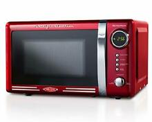 Nostalgia RMO770RED Retro 700 Watt Countertop Microwave Oven 0 7  0 7 Cu Ft