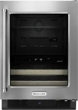 KitchenAid KUBR204ESB 24  Beverage Center with Glass Door and Wood Front Racks