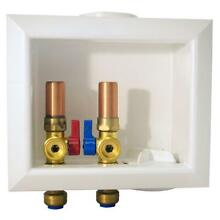 Tectite 1 2 in  Brass Washing Machine Outlet Box with Water Hammer Arrestors  A4