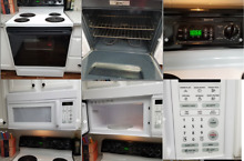 White Electric Range and Microwave Oven