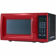 Mainstays 0 7 Cu  Ft  Microwave Oven Countertop 10 Power Levels LED  700W Red