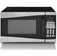 Hamilton Beach Microwave Oven  Stainless Steel Silver Compact  0 9 Cu Ft  900W