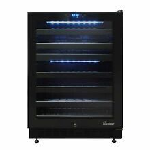 46 Bottle Dual Zone Wine Cooler with Seamless Glass Door  Right Hinge Model