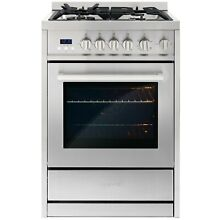 24 IN  2 73 CU  FT  SINGLE OVEN GAS RANGE WITH 4 BURNERS STAINLESS STEEL