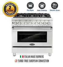 36  4 5 cu ft Dual Fuel Gas Range Stainless Steel 6 Italian Burners Convection