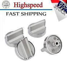 4 Pcs New Knob For Whirlpool Stove Range Cooktop W10594481 Stainless Steel