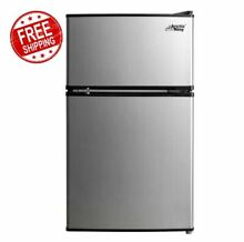 Mini Fridge Freezer Combo Stainless Steel Compact 3 2 CU FT  Home Office Dorm