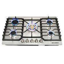 For Cook Top Stove 30  Stainless Steel 5 Burner Gas Cooktop NG  LPG Conversion