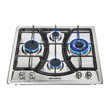 23   Curve Stainless Steel 4 Burners NG LPG Gas Hob Cooktop Cooker US Seller