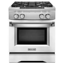 KitchenAid Imperial White Slide In Dual Fuel True Convection Range KDRS407VMW