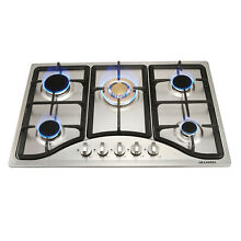 Silver Stainless Steel 30 5 Burners Cooktops Stove Built in LPG Natural Gas Hob
