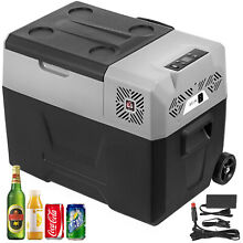 31 7QT Portable Fridge Freezer w Trolley Wheels  20 20  12 24V DC 0 2KW h 24H