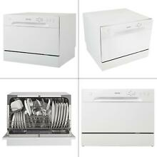 Portable dishwasher in white with 6 place setting capacity   danby countertop