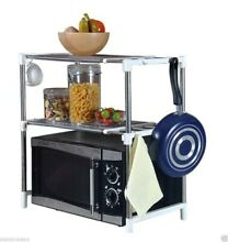 Microwave Oven Storage Rack Dual Shelf Chrome Stainless Steel Stand