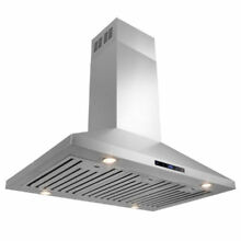 36  Stainless Steel Island Mount Range Hood with Touch Screen   Baffle Filters