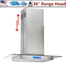 36  Stainless Steel Island Mount Range Hood with Tempered Glass Touch Panel LCD