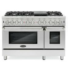 48 in  Commercial Style 5 8 cu  ft  Double Oven Dual Fuel Range 6 Sealed Burners