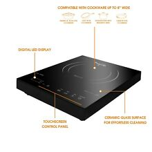 MegaChef Portable 1400W Single Induction Countertop Cooktop with Digital Control