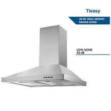 30 inch Stainless Steel Wall Mount Range Hood 350CFM 3 Speed Vented Kitchen LED