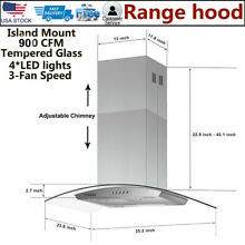 30  Stainless Steel Island Mount Range Hood 870CFM LCD Display Touch Panel Glass