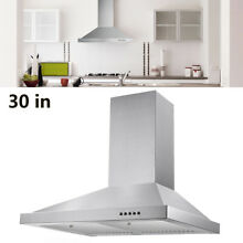 30 inch 350CFM Stainless Steel Wall Mount Range Hood 3 Speed Vented Kitchen Cook