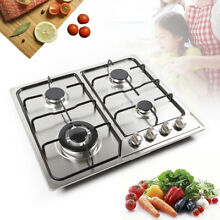 US 22 8 X20  Stainless Steel 4 Burners Built In Stove Gas Cooktop Kitchen Cooker