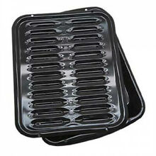 Porcelain Broiler Pan with Grill Heavy Metal 13 x 16 Inch Outdoor BBQ Tray Black