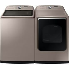 SAMSUNG Top Load 5 4 Washer   Electric Dryer CHAMPAGNE WA54R7600AC   DVE54R7600C