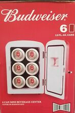 Red Portable 6 can Mini Fridge  Budweiser  Fathers day Gift   Cold Beer Drinks