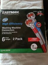 Eastman High Efficiency Washing Machine Connectors Hoses 6 Ft Length 2 Pack NEW