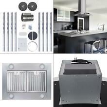 36 in  343 cfm convertible island mount range hood with tempered glass and car