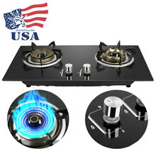 2 Burners Propane Liquefied Gas Stove Cooker Kitchen Cooking Cooktop Home Use